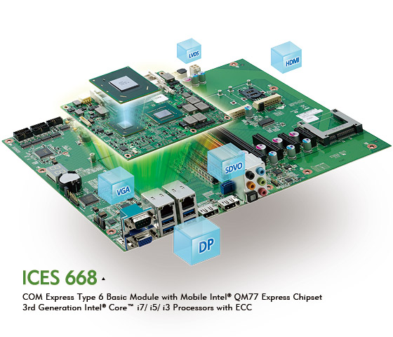 COM Express ICES 668 Powered by 3rd Generation Intel® Core™ Processor Family with ECC
