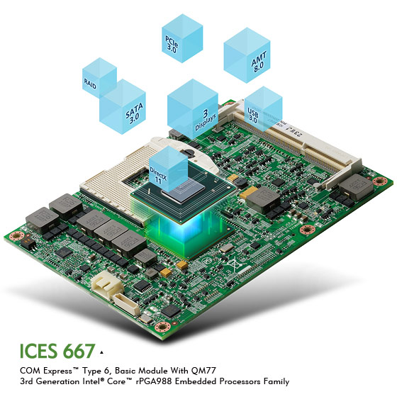 COM Express ICES 667 Powered by 3rd Generation Intel® Core™ Processor Family
