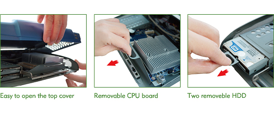 Easy to open the top cover, Removable Motherboard, Two removeble Hard Drives
